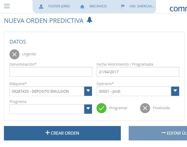 Orden de mantenimiento predictivo en commet GMAO