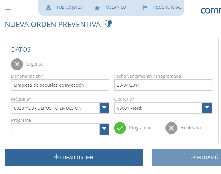 Orden de mantenimiento preventivo en commet GMAO
